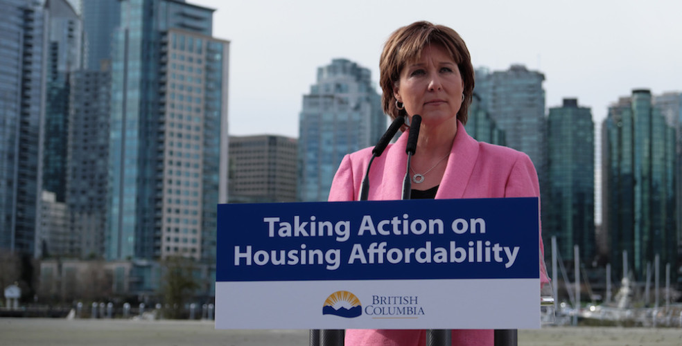 Christy Clark in Front of Podium
